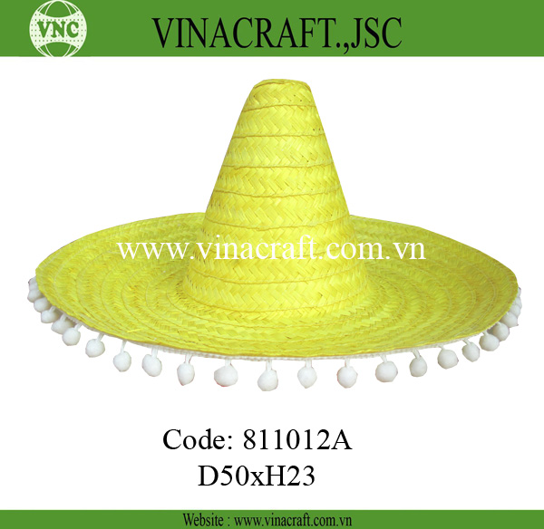 Bamboo sombrero mexican straw wide brim hat with pompom lace
