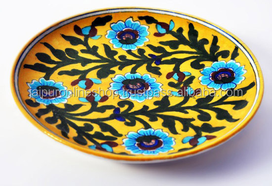 Blue Pottery Plate Indian handmade & Blue Pottery Plate Indian handmade View decorative pottery plates ...