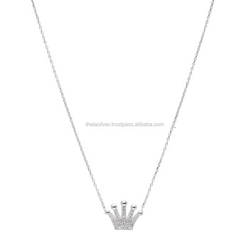 925 sterling silver crown necklacewholesale turkish charm pendant 925 sterling silver crown necklace wholesale turkish charm pendant aloadofball Images