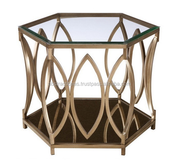 Fer Hexagonal Table Basse Avec Plateau En Verre - Buy Tabouret,Tabouret De  Bar,Tabouret De Jardin Product on Alibaba.com