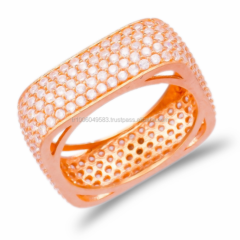 Wholesale Handmade 5 Rows Zircon Rose Gold Plated Square pave Turkish Silver Pave Ring