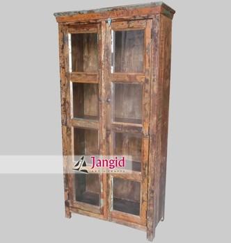 Rustic Reclaimed Wood Glass Door Almirah Design Buy Wood Almirah Designs In Bedroom Indian Almirah Designs Teak Wood Almirah Product On Alibaba Com