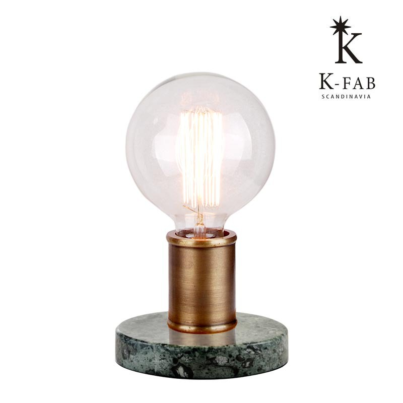 16477 Elma Antique Brass Metal Marble Base Table Lamp With Edison ...