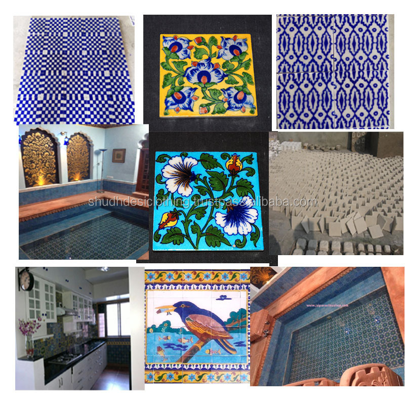 Buy Rajasthani Blue Pottery Tiles / Tile Borders/tile Murals Set ...