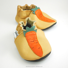 Soft sole baby shoes Leather chaussons Krabbelschuhe orange carrot yellow 2 3 years ebooba