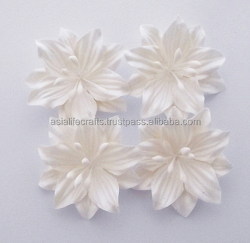Paper Flowers Diy 50 Pcs White Lily Paper Flowers For Color Creating