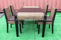 Wicker Rattan Dining Table Set - Interior Solid Wood Dining table and chair- dining set water hyacinth weaven furniture