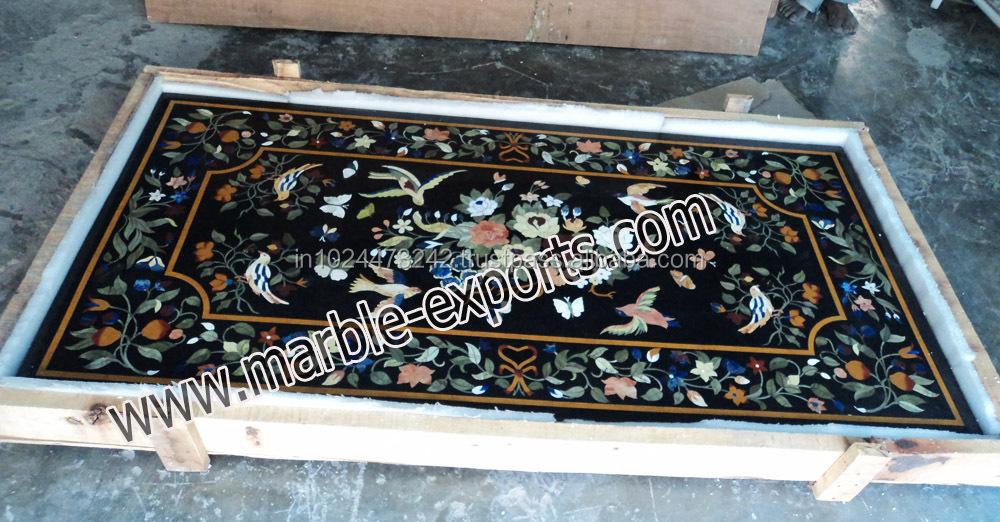 Tavoli Di Marmo Intarsiati : Naturale marmo nero intarsiato tavolino top pietre dure marmo