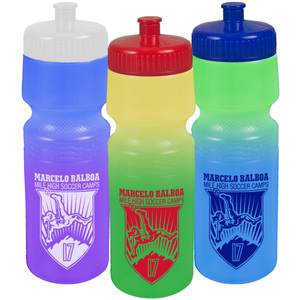 USA Made 24 oz Color Change Bike Bottle - changes color with ice cold liquids, BPA-free and comes with your logo