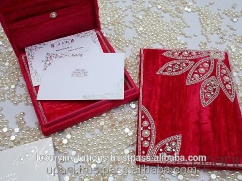 Velvet Wedding Invitations: Velvet Wedding Invitation Box Ivory Pearls Hand Embroidery