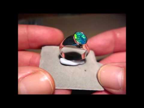 Mens Opal Ring 925 Sterling Silver or Gold. Blue Green oval stone.