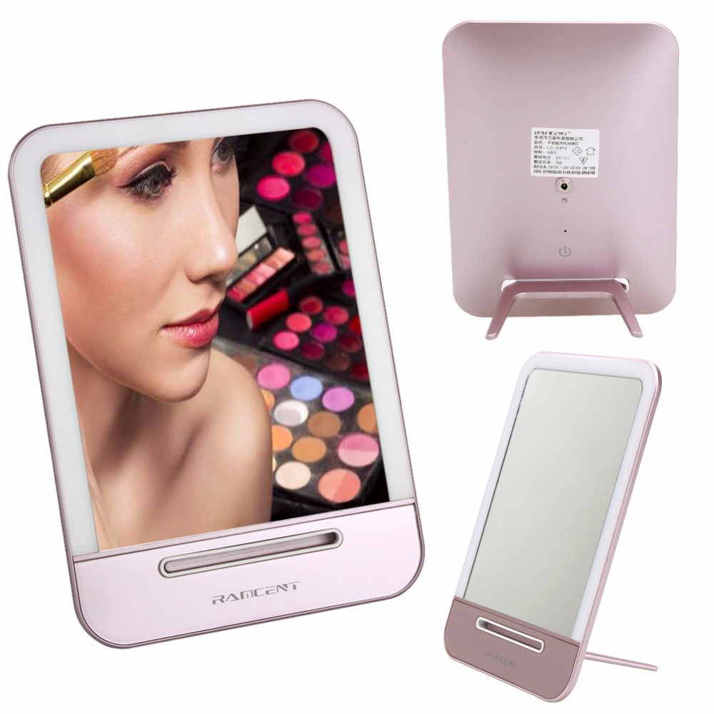 wholesale dental cosmetic makeup mirror with led light,led lighted desktop makeup mirror table desk lamp