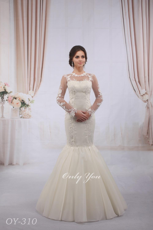 Modest Mermaid Wedding Dress Muslim Beaded Lace Long Sleeves Floor Length  Boat Neck