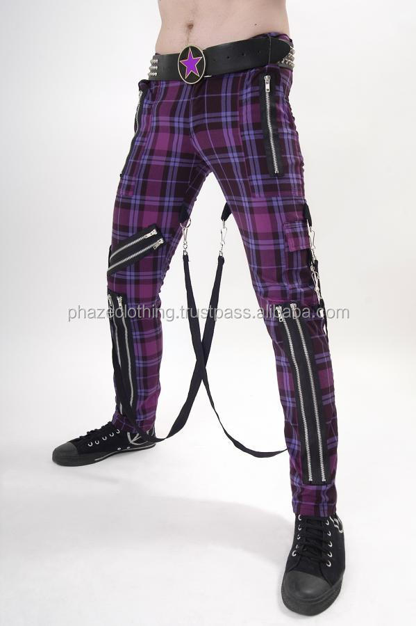 Pants green plaid bondage