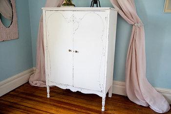 Antique Armoire Shabby Chic White Distressed Cottage Prairie Vintage  Dresser Closet