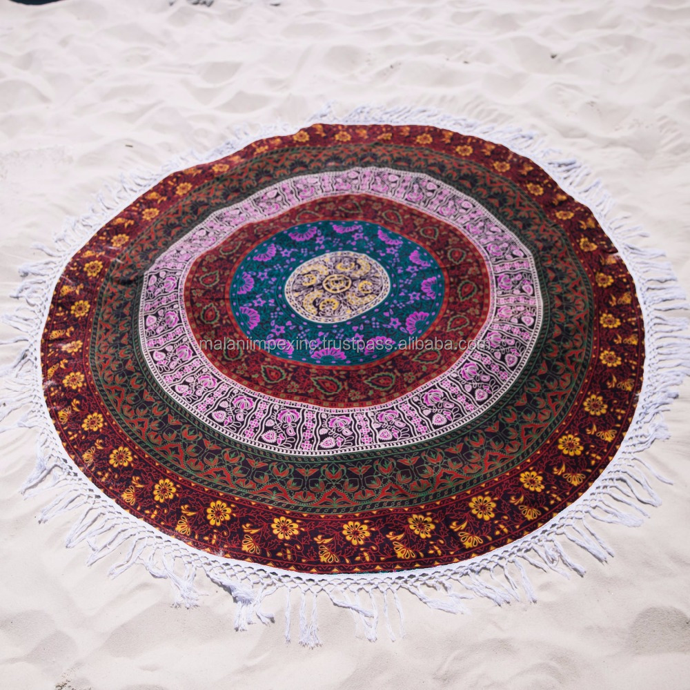Malani Impex new brand 2016 Australia popular 100% cotton printed mandala round beach towel with tassels