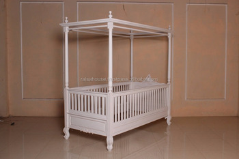 French Furniture-Sweetheart Canopy Bed With Conversion Kit Sides To Be Removable-Mahogany Furniture