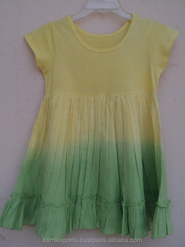 New Cotton summer 2016 latest quality yellow color sexy kids wear girls garments frock & dress