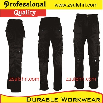 Mens Black Cargo Work Trousers/pants With Cordura Patches,Workwear ...
