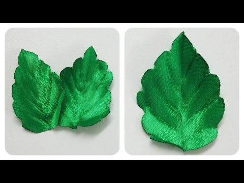 How to make ribbon leaves,diy ribbon flowers leaves,green leaves tutorial
