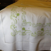 Hand embroidered cotton bed sheet No.1