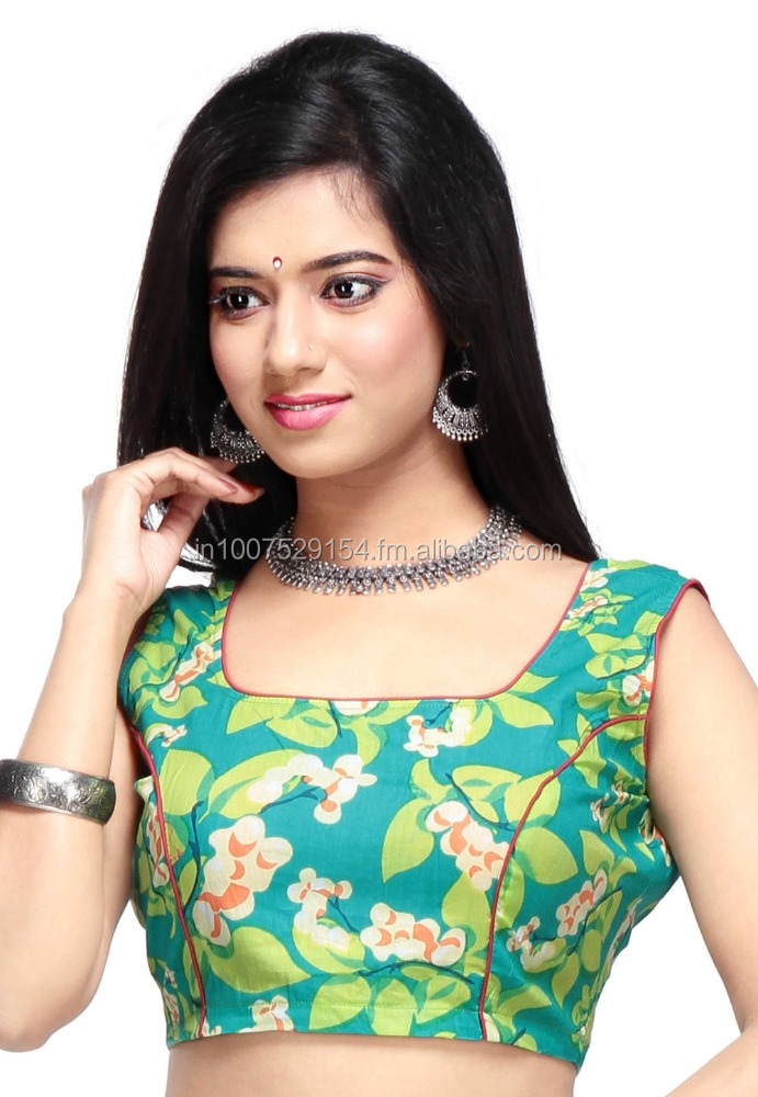 VASTRA VINOD'S Teal Green Cotton Readymade Blouse