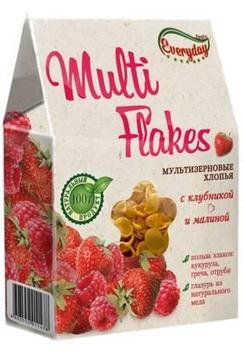 Flakes EVERYDAY multi cereals [carton 200g*16]: with strawberries and raspberies; blueberries and cranber.; choco and banana