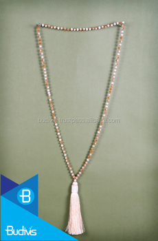 Top Beaded Long Antique Tassel Necklace with Macrame