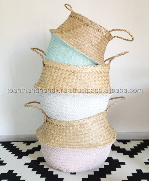 Panier Boule Seagrass Belly Laundry Basket