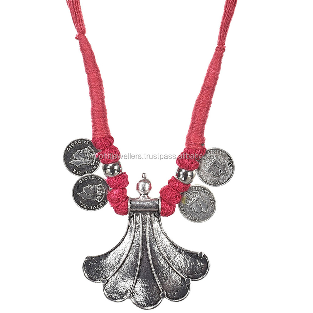 Oxidised coin style silver thread antique necklace and lady alloy