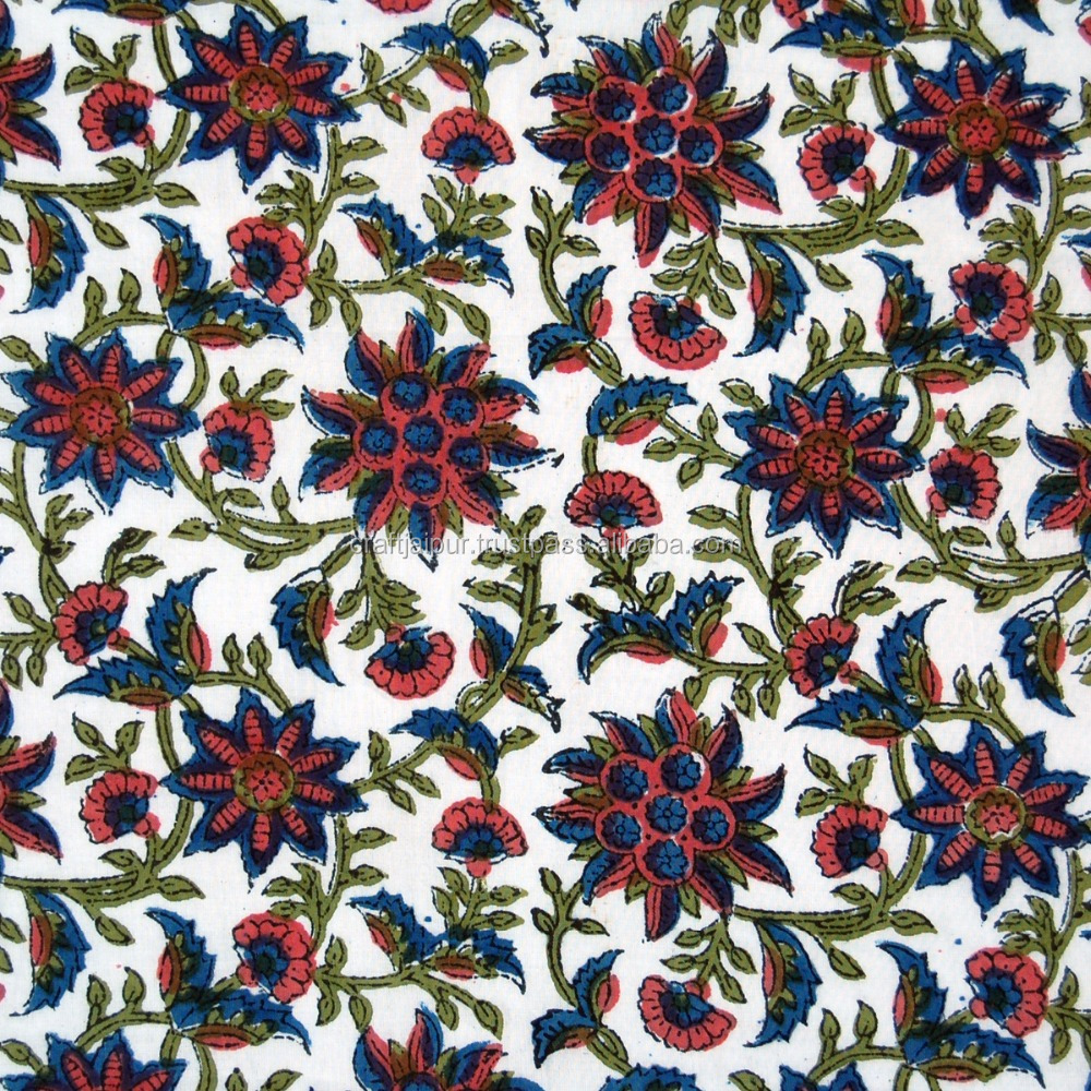 Hand Block Print Indian Cotton Floral Printed Natural Vegetable Color Fabric