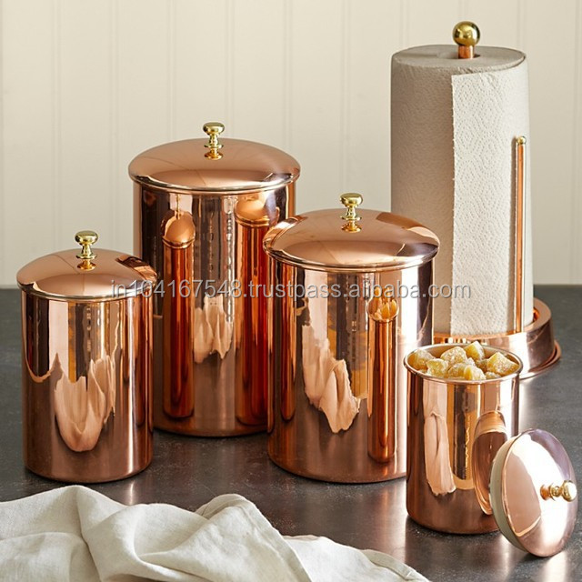 Kitche Canisters Rose Gold Color Copper Canisters Elegant Copper Canisters Copper Jars