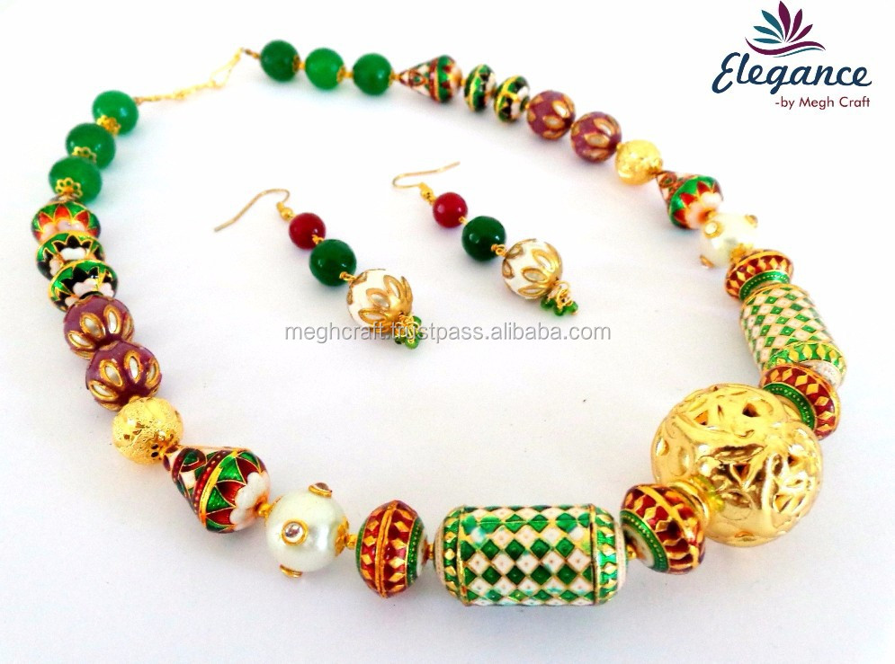 Bollywood Fashion Wear Necklace Set-wholesale Gold Plated ...
