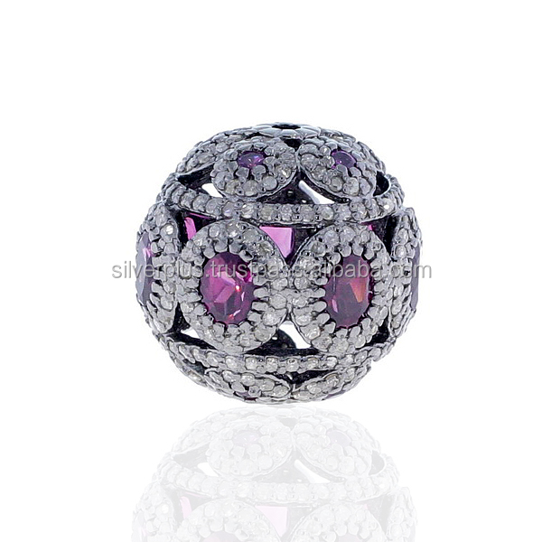 925 Sterling Silver Diamond Pave Bead Spacer Gemstone Ball Finding Wholesale Diamond Gemstone Beads