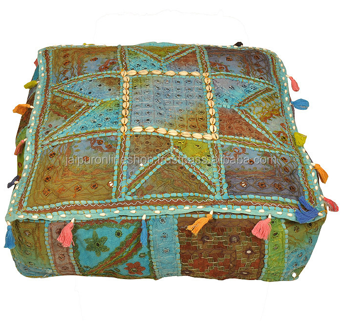 Buy Indian Gorgeous Vintage Foot Stool Square Bean Bag Floor Pouf Chair Sofa Cushion