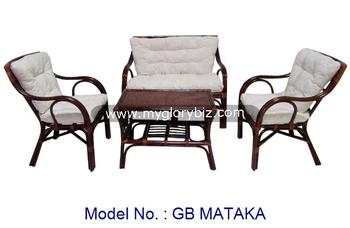 Cheap Price Rattan Indoor Set For Living Room Furniture With Sofa Armchair And Table Malaysia