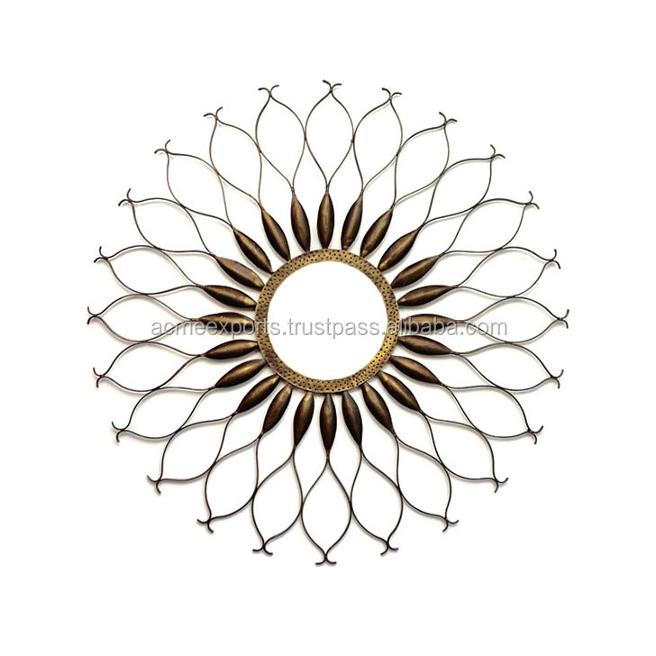 Indian decorative sun shaped wall mirror