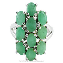 Amazing Design Natural Green Emerald 925 Sterling Silver Ring, Silver Jewelry Manufacturer, 925 Sterling Silver Jewelry