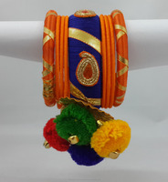 Multicolor Garba Navratri Dandiya Special Silk Thread Bangles Set