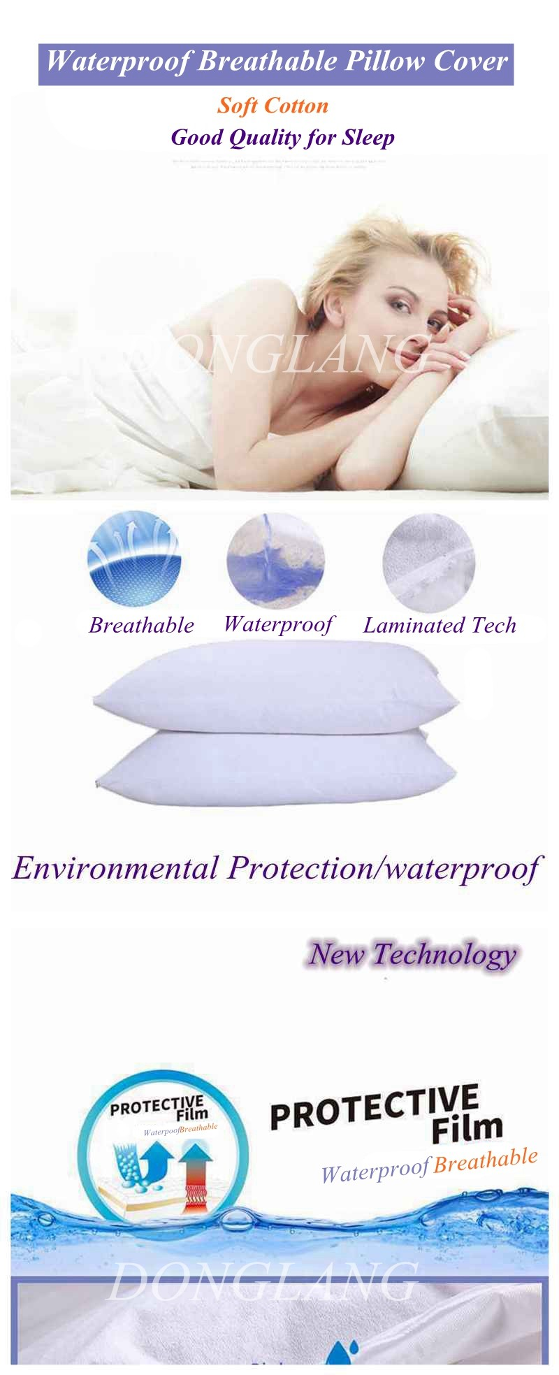 Hot-Selling High Quality Low Price Chair Pillow Covers/100% Cotton Waterproof Pillow Cover