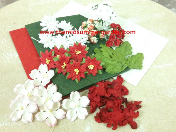 blank cards with envelope and paper flowers for scrapbooking