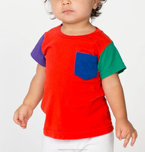 Infant jersey t-shirt with contrast sleeves and pocket