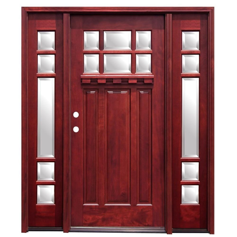 Craftsman Stained Mahogany Wood Front Doors With Dentil