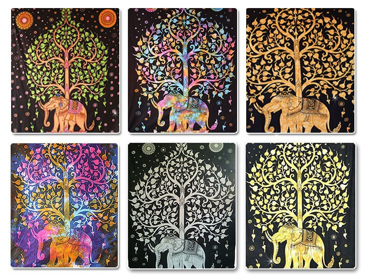 l phant indien avec arbre tapisserie murale tentures art d co good luck elephant tapisserie id. Black Bedroom Furniture Sets. Home Design Ideas
