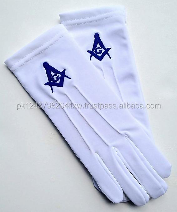 Masonic Gloves Blue Square /& Compass Cotton Gloves