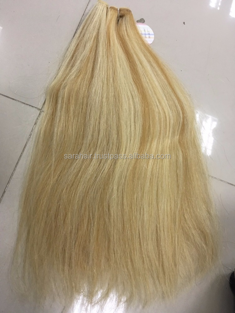 Straight Vietnamese hair chestnut mix color brown-blonde hair color machine weft hair