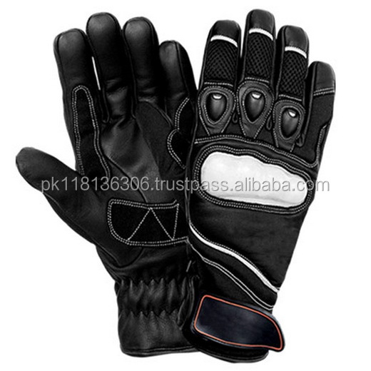 Black Motor Bike Sport Racing Synthetic leather Gloves