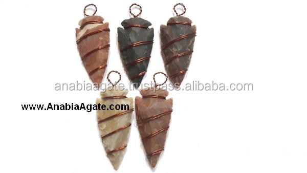 Aagte Gemstone Arrowhead Pendant | Fancy Jasper Copper Wire ...