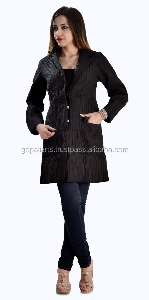 Indian 2017 Handmade Quilted Cotton Jacket Women's Winter Wear Coat M Size Black All Seasons