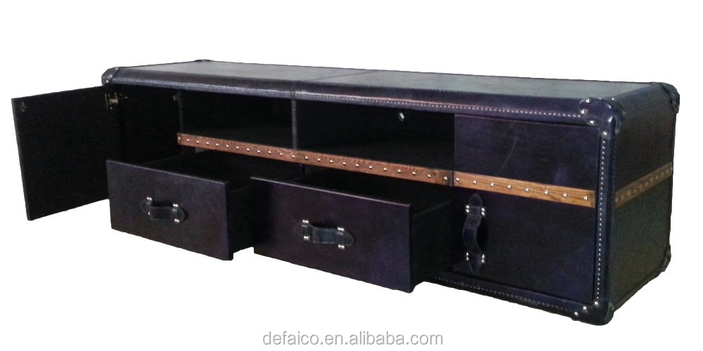 Vintage Living Room Flat Screen Leather Linen TV Stand Tables